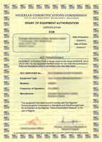 Example Radio Type Approval Certificate for Nigeria